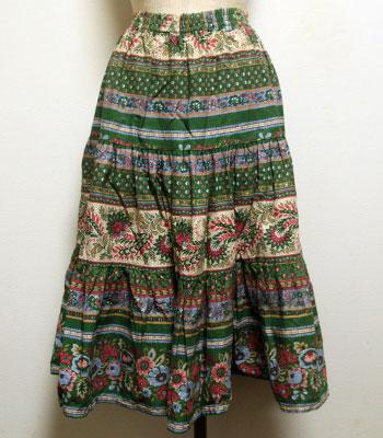 グリーン×ピンク×ライトブルー 花柄 プロバンススカート