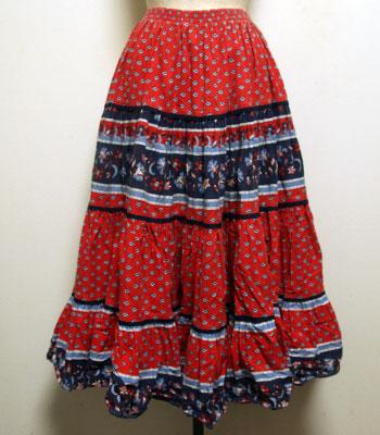 レッド×ネイビー ペイズリー柄 プロバンススカート
