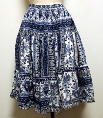 ネイビー×白 花柄 プロバンススカート