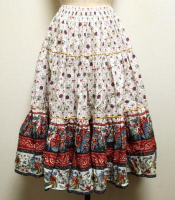 チェリーレッド×白 ペイズリー柄 プロバンススカート