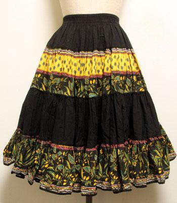 デッドストック ペイズリー×オリーブ柄 ブラック×イエロー×グリーン アトリエプロヴァンサル プロバンススカート