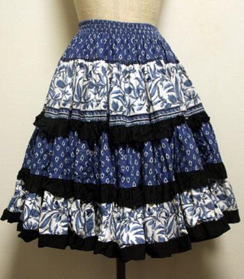 ペイズリー×オリーブ柄 ネイビー×ブラック×白 アトリエプロヴァンサル プロバンススカート