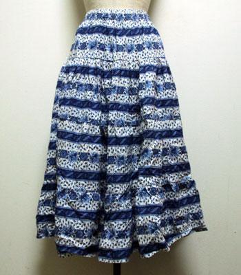 ブルー 花柄 プロバンススカート