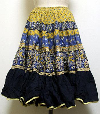 イエロー×ネイビー×ブルー ペイズリー柄 プロバンススカート