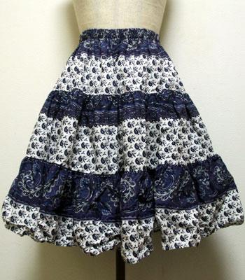 デッドストック ペイズリー柄 ネイビー×白 プロバンススカート
