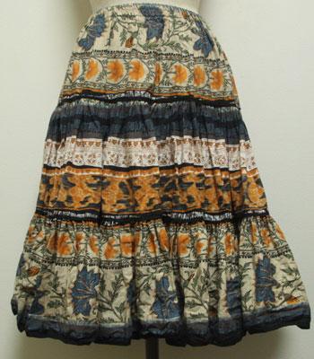 イエロー×インディゴブルー×クリーム ペイズリー柄 プロバンススカート