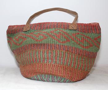 緑×赤 マルシェバッグバッグ