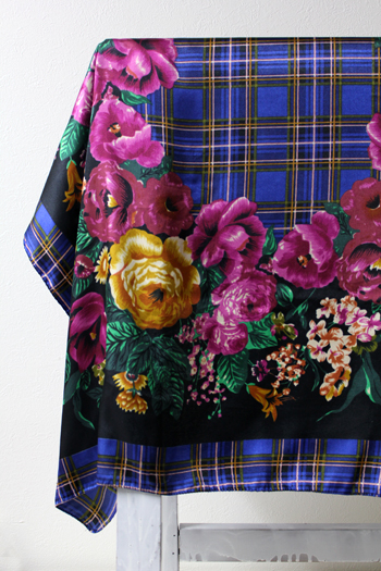 花柄×タータンチェック アンティークスカーフ