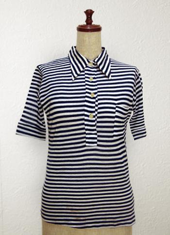 襟付き マリンボーダーシャツ