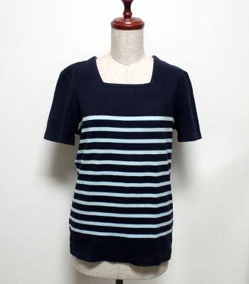 ネイビー×水色 セントジェームス セーラーカラーTシャツ
