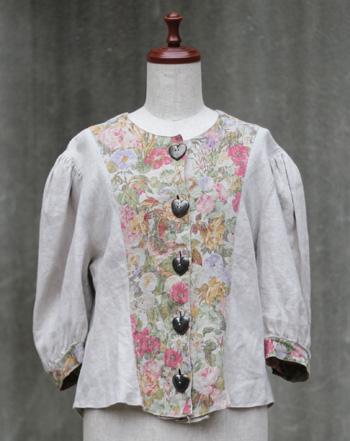 リネン 花柄のチロリアンジャケット