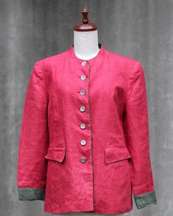赤×緑 リネンのチロリアンジャケット