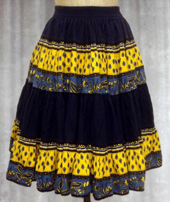 紺X黄 ペイズリー柄のプロヴァンススカート