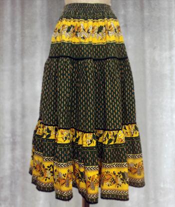 緑X黄 花Xペイズリー柄のプロヴァンススカート