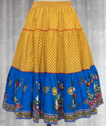 黄X青 フラメンコ柄のプロヴァンススカート