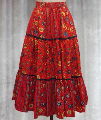 赤 花柄のプロヴァンススカート