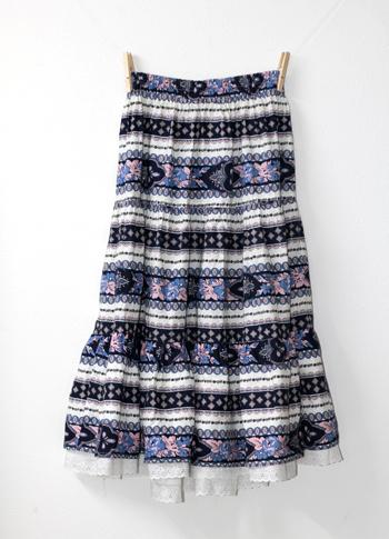 青×白 ペイズリー柄のプロバンススカート