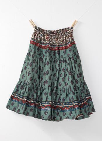 ブルーグレー ペイズリー柄のプロバンススカート