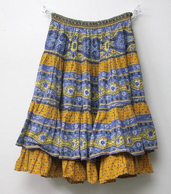 ダブル仕立て ブルー×イエロー プロバンススカート