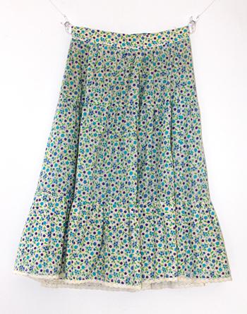 アイボリー×水色の花柄 ヨーロピアンスカート