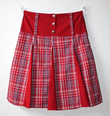 赤チェック 膝丈ヨーロピアンスカート