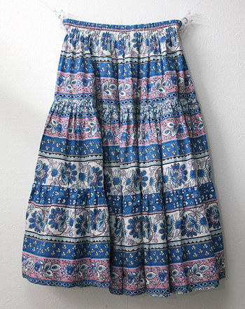 ミドル丈 ブルー×ピンク プロバンススカート