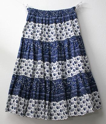 ショート丈 ブルー プロバンススカート