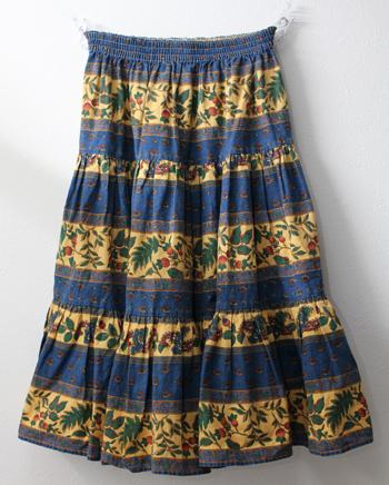 ミドル丈 ブルー×イエロー プロバンススカート