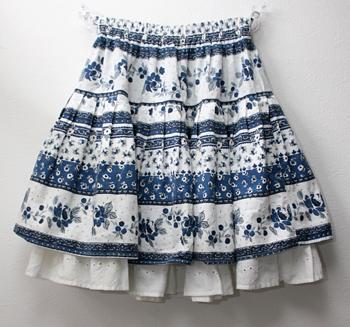 ショート丈 ブルー ペチ付きプロバンススカート