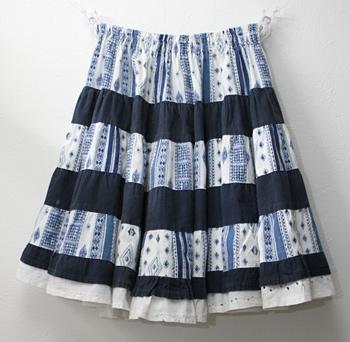 ショート丈 ブルー×ネイビー プロバンススカート