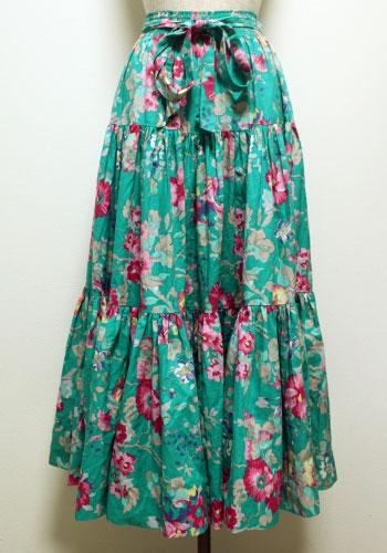 ターコイズグリーン ローラアシュレイ 花柄スカート