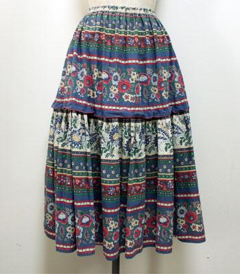 ネイビー 花柄 プロヴァンススカート