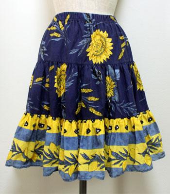 ショート丈 ネイビー×イエロー ひまわりとレモン柄のプロヴァンススカート
