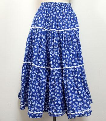 ブルー 小鳥の柄のプロヴァンススカート