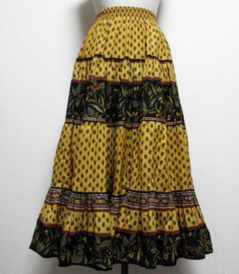 デッドストック グリーン×イエロー オリーブ柄のプロヴァンススカート