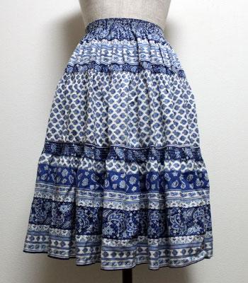 ブルー ペイズリー柄 プロバンススカート