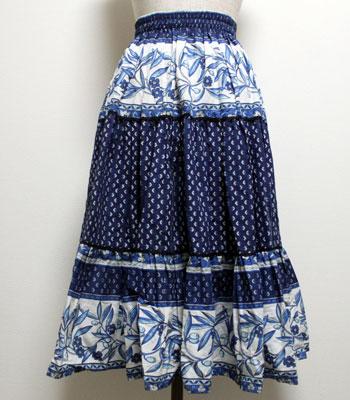 ネイビー オリーブ柄のプロヴァンススカート