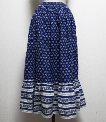 ブルー 花柄のプロヴァンススカート