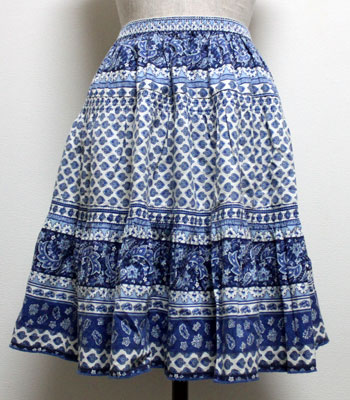 ショート丈 ブルー プロヴァンススカート