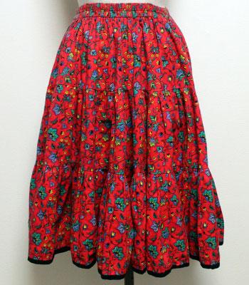 レッド×ターコイズ 花柄 プロヴァンススカート