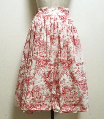 赤×白 フレンチカントリー柄 ヨーロピアンスカート