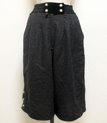 ブラック ウールキュロットスカート
