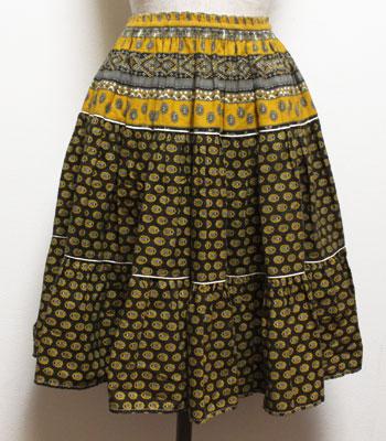 深緑×イエロー ペイズリー柄 プロバンススカート