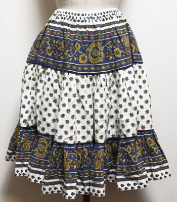 ネイビー×ホワイト ペイズリー柄 プロバンススカート