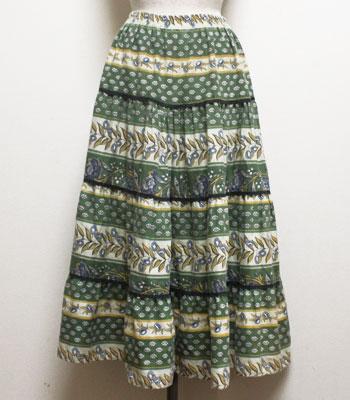 グリーン×イエロー オリーブ柄 プロバンススカート