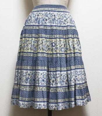 ブルー×イエロー 花柄 プロバンススカート