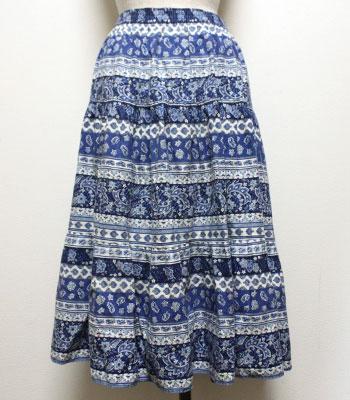 ブルー ペイズリー柄のプロバンススカート