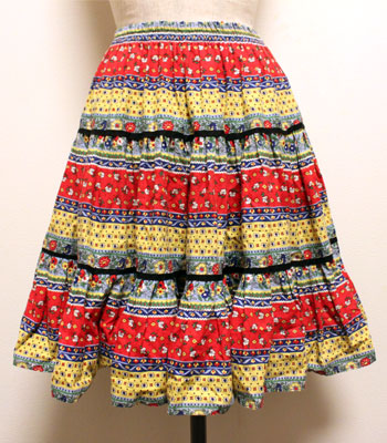 デッドストック レッド×ブルー×イエロー プロバンススカート