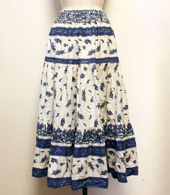 ブルー×白 オリーブ柄 プロバンススカート