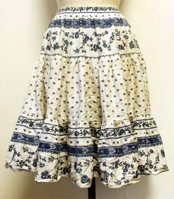 ブルー×白 花柄 プロバンススカート